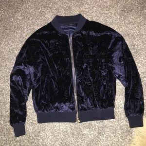 Navy velvet bomber jacket size small